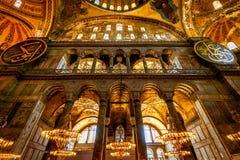Interior of the Hagia Sophia (Ayasofya) in Istanbul. ISTANBUL - MAY 25, 2013: Interior of the Hagia Sophia (Ayasofya). Church of Hagia Sophia is the greatest stock photo