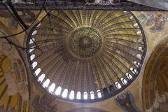 Aya Sophia in Istanbul Turkey inside. Interior of Hagia Sophia (the Church of Holy Wisdom) is one of the greatest surviving examples of Byzantine architecture royalty free stock image