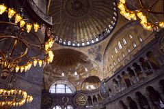 Aya Sophia in Istanbul Turkey inside. Interior of Hagia Sophia (the Church of Holy Wisdom) is one of the greatest surviving examples of Byzantine architecture royalty free stock photos