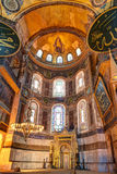 Interior of the Hagia Sophia in Istanbul, Turkey. Inside the Hagia Sophia in Istanbul, Turkey. The apse with the image of the Virgin at the top. Hagia Sophia is stock images