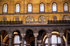 Interior of the Hagia Sophia, Istanbul, Turkey. ISTANBUL - MAY 25, 2013: Interior of the Hagia Sophia. Hagia Sophia (Ayasofya) is the greatest monument of royalty free stock photo