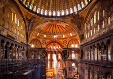 Interior of the Hagia Sophia in Istanbul, Turkey. ISTANBUL - MAY 25, 2013: Interior of the Hagia Sophia. Hagia Sophia is the greatest monument of Byzantine stock images