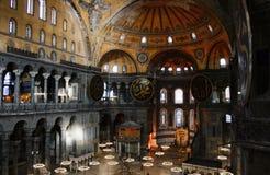 The Interior of Hagia Sophia, Turkey. Istanbul, Turkey - 7 September 2011. The interior of Hagia Sophia, now a museum in Istanbul Stock Photo