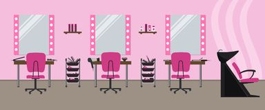 Interior of a hairdressing salon in a pink color. Beauty salon. There are tables, chairs, a bath for washing the hair, mirrors, hair dryer, combs and other royalty free illustration