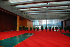 Interior of the hall. With red carpet Royalty Free Stock Photos