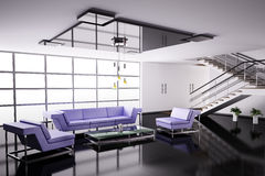 Interior of hall 3d Stock Images