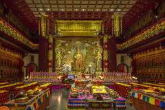 Interior hall of a Buddhist temple Royalty Free Stock Photo