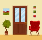 The interior of the hall with a closed brown wooden door, a cozy red armchair, a tree in a pot and paintings on the walls. Hallway stock illustration