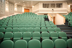 Interior of hall for conferences. Rows of chairs for spectators Stock Image