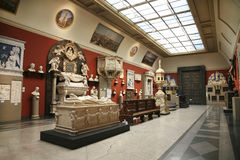 The interior of the hall of European medieval art in the Pushkin Museum of Fine Arts Stock Photos