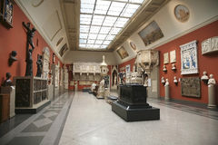 The interior of the hall of European medieval art Stock Photo