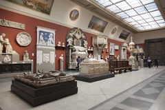 The interior of the hall of European medieval art in the Pushkin Museum of Fine Arts in Moscow stock photo