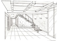 The interior of the hall. Hand drawn sketch interior design Stock Images