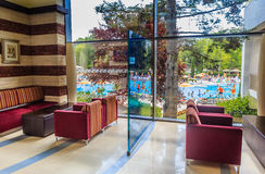 The interior of the hall of the hotel overlooking the pool. Albena, Bulgaria Royalty Free Stock Photography