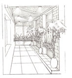 The interior of the hall. The modern interior of the kitchen hand drawn sketch interior design Royalty Free Stock Images