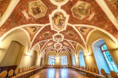 Interior: a hall with paintings Stock Image