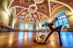 Interior: a hall with paintings, a tango shoe in the foreground Royalty Free Stock Photography