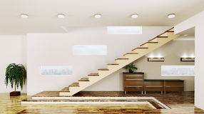 Interior of  hall with staircase 3d render Royalty Free Stock Photos