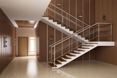 Interior of hall with stairs 3d render Royalty Free Stock Photo