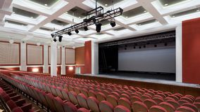 The interior of the hall in the theater. Concert hall of the theater with red new chairs. The interior of the hall in the theater or cinema view of the stage Stock Image