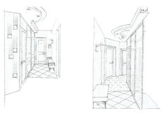 The interior of the hall. Theclassic interior hand drawn sketch interior design Royalty Free Stock Images