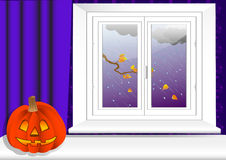 Interior with halloween pumpkin. vector 10eps. Royalty Free Stock Photos