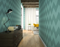 Interior of hallway with blue wallpaper 3D rendering Royalty Free Stock Photos