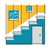 Interior hallway and stair, logo or icon, vector illustration. Stock Photos