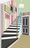 Interior of the hallway with a staircase. Design of modern hallway. Symbol furniture, hallway illustration. Interior of the hallway with a staircase. Design of Royalty Free Stock Image