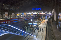 Interior of Hamburg central railway station. Germany Royalty Free Stock Images