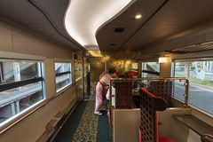 Interior of the Hanayome Noren train 2nd car. ISHIKAWA,JAPAN-APRIL 8,2016:Interior of the Hanayome Noren train. The 2nd car adopt designs often used in local Royalty Free Stock Images