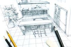 Interior hand drawing Stock Photo
