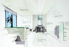 Interior hand drawn perspetive of  bathroom Stock Images