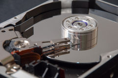 The interior of the hard disk on a black background Royalty Free Stock Images