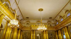 Interior of Hermitage Palace in St Petersburg. St Petersburg, Russia - Oct 8, 2016. Interior of Hermitage Winter Palace in Saint Petersburg, Russia. Hermitage Stock Photo