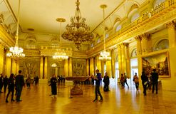 Interior of Hermitage Palace in St Petersburg. St Petersburg, Russia - Oct 8, 2016. Many people visit the State Hermitage Museum in Saint Petersburg, Russia Stock Images