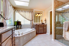 Interior hermoso del cuarto de baño en tono de color de malva ligero Foto de archivo