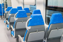 Interior high speed electric train in Moscow, Russia Royalty Free Stock Images