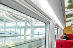 Interior of the high-speed train. Stock Photo