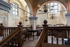 Interior of the historic great synagogue building. TYKOCIN, POLAND - MAY 03, 2018: Interior of the historic great synagogue building in mannerist-early Baroque Royalty Free Stock Photos