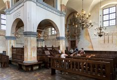 Interior of the historic great synagogue building. TYKOCIN, POLAND - MAY 03, 2018: Interior of the historic great synagogue building in mannerist-early Baroque Royalty Free Stock Photography