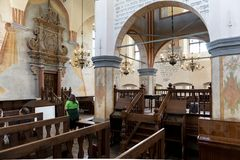 Interior of the historic great synagogue building. TYKOCIN, POLAND - MAY 03, 2018: Interior of the historic great synagogue building in mannerist-early Baroque Royalty Free Stock Photo