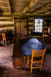 Interior of a historic log cabin in Sky Meadows State Park, VA