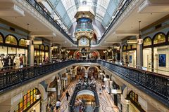 Queen Victoria Building Shopping Galleries, Sydney, Australia. Interior of the historic Queen Victoria Building, a Romanesque Revival building dating from 1898 Royalty Free Stock Photography