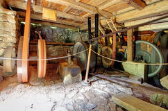 Interior of historic watermill Stock Image