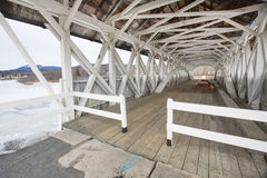 Interior of historic, white covered bridge in Groveton, New Hamp Stock Photos