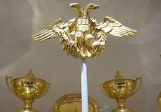 Double-headed golden eagle of the imperial clan Habsburg stock photo