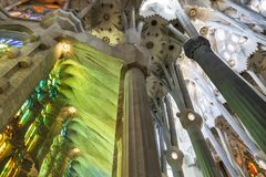 Interior of Holy Family Cathedral in Barcelona, Catalonia, Stock Photo