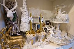 Interior of a home articles shop with Christmas decoratoins Stock Photos