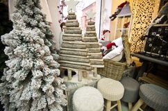 Interior of a home articles shop with Christmas decoratoins Royalty Free Stock Images